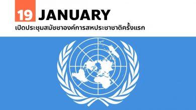 19 มกราคม เปิดประชุมสมัชชาองค์การสหประชาชาติครั้งแรก