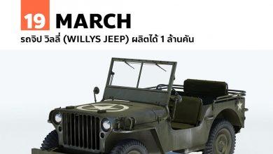 19 มีนาคม รถจิป วิลลี่ (Willys Jeep) ผลิตได้ 1 ล้านคัน