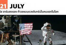 21 กรกฎาคม นีล อาร์มสตรอง ก้าวลงบนดวงจันทร์เป็นคนแรกในโลก