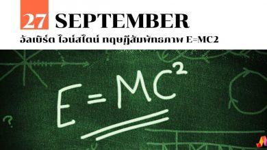 27 กันยายน อัลเบิร์ต ไอน์สไตน์ ทฤษฎีสัมพัทธภาพ E=mc2